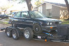 Towing the E30 across town to the shop with McCall's truck/trailer on 25 Oct 2009