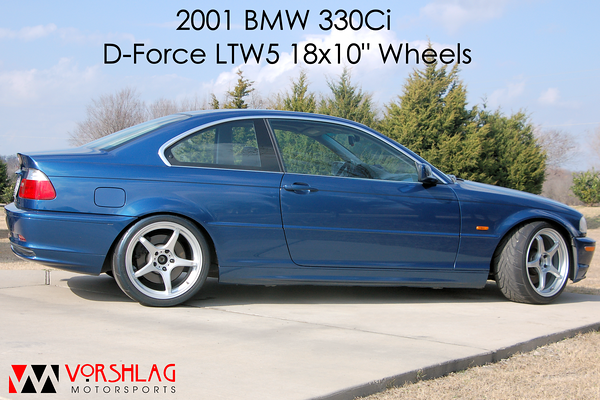 "265/35/18 Yokohama A032 tires on D-Force 18x10"" wheels. Front and rear fenders rolled, negative camber up front."