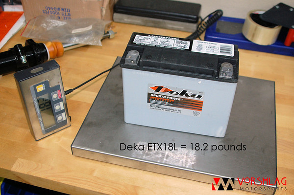 "Deka AGM battery made for motorcycles, which are normally threaded for an M6 bolt. The Werker ""SAE top post adapter"" terminals can be purchased online or at most BatteriesPlus stores for about $9/pair. The larger diameter terminal goes on the positive (+) terminal."