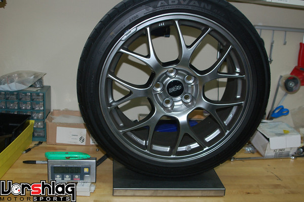 """Factory EVO MR 18x8.5"""" wheel and 245mm Advan tire, 46.8 pounds."""