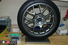 "Factory EVO MR 18x8.5"" wheel and 245mm Advan tire, 46.8 pounds."