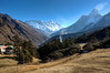 View of Everst from Tengboche. The trail continues up the valley from here towards the Everest base camp.