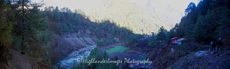 Panorama view outside Phakding as we leave on the way to Lukla.