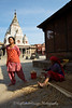 Ladies working in front of Rato Machhendranath Temple, Bungamati.