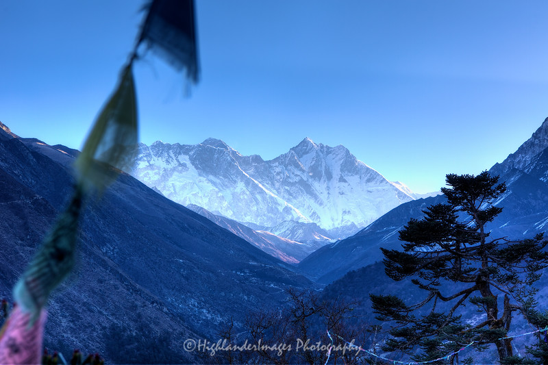 Dawn view of Mount Everest, Nuptse, Lhotse, and Lhotse Shar from Tengboche.
