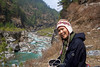 Suit Yoo takes a welcome break at the side of the Dudh Kosi River from Namche Bazaar towards Jorsalle and Phakding.