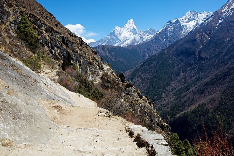 The rugged trail between Namche Bazaar and Tengboche with Ama Dablam towering in the background.