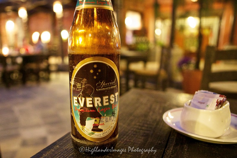 Everest beer at hotel in Kathmandu prior to start of 7 day trek