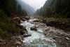Looking down the Dudh Kosi River on the trek from Namche Bazaar towards Jorsalle and Phakding.