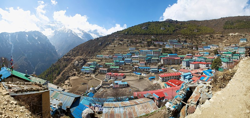 Panoramic view over Namche Bazaar.