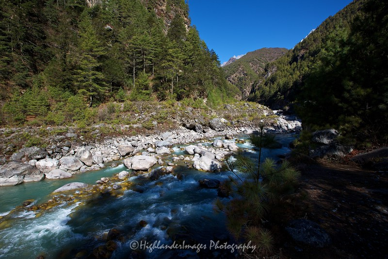 The beautiful Dudh Kosi River in the Khumbu Valley between Monjo and Namche Bazaar.