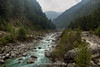 The Dudh Kosi River and the Khumbu Valley on the trek from Namche Bazaar towards Jorsalle and Phakding.