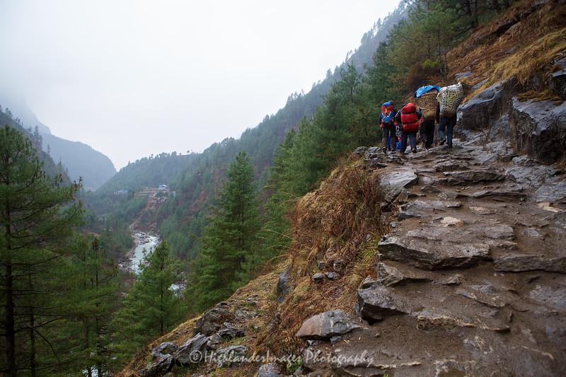 The return trek from Monjo to Phakding was wet making the trail skippy and dangerous.
