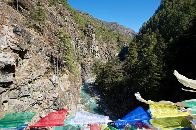 A view from the the high suspension bridge between Jorsalle and Namche Bazaar.
