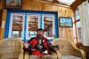 Yusuf enjoying the delights of the local Starbucks Coffee Shop in Lukla.