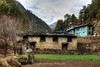 Old house at Monjo looking up the Khumbu Valley.