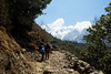 Suit Yoo on the final leg of the 7 day trek heading up to Lukla from Monjo.