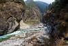 The high suspension bridge between Namche Bazaar and Phakding.
