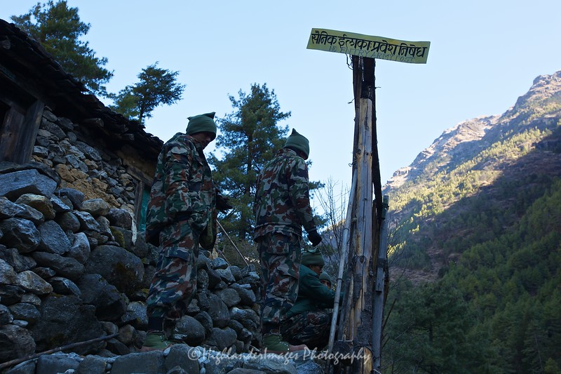 There are occasional army checkpoints up the route, this one between Jorsalle and Namche Bazaar.