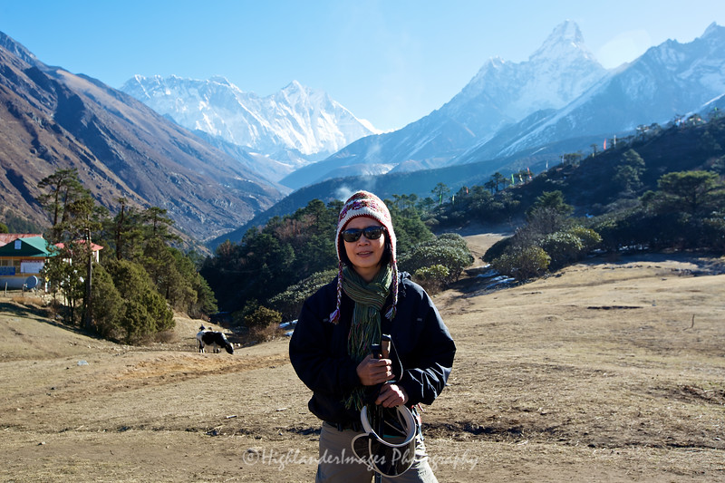 Suit Yoo at Tengboche with Mount Everest in the background.
