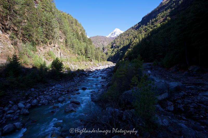 Heading further up the Khumbu Valley from Jorsalle to Namche Bazaar and following close to the Dudh Kosi River the scenery became even more spectacular.