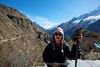 Suit Yoo with the wonderful vista behind of Mount Everest, Taboche, Nuptse, Lhotse, Lhotse Shar and Ama Dablam.