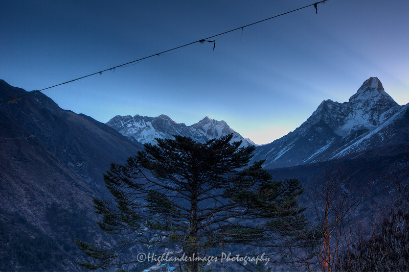 Dawn view of Mount Everest, Nuptse, Lhotse, Lhotse Shar and Ama Dablam from Tengboche.