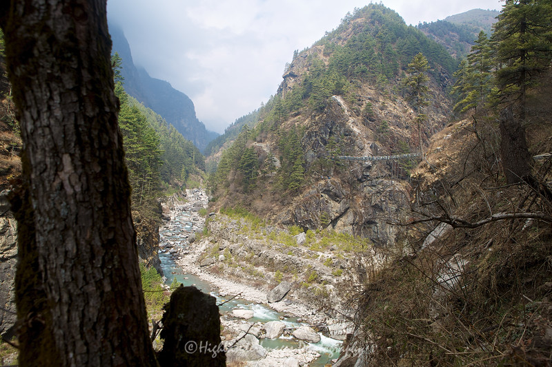 A view up the Khumbu Valley with the high suspension bridge we had crossed on the trail back down from Namche Bazaar towards Phakding.