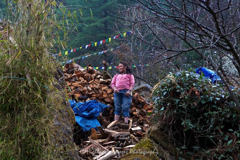 Small girl chopping wood  between Koshigaun village and Phakding