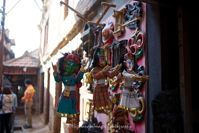 Wooden puppets in Bungamati.