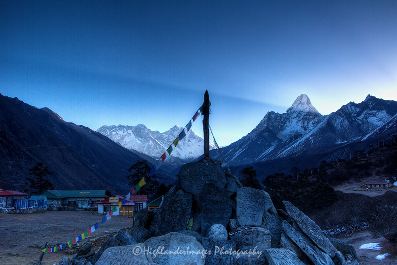 Dawn view of Mount Everest, Nuptse, Lhotse, Lhotse Shar and Ama Dablam from Tengboche.