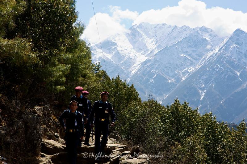 Nepal police on patrol between Monjo and Lukla.