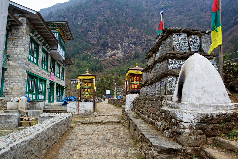 Prayer wheels are a common sight on the Everest Base Camp Trail, these ones are situated between Lukla and Phakding