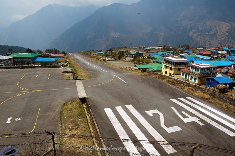 The runway at Lukla Airport, Nepal