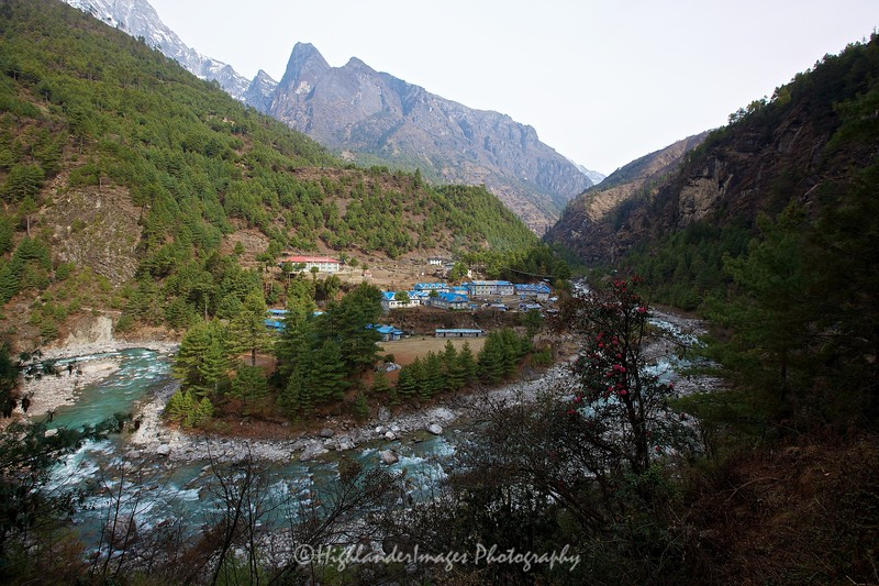 Heading up the Khumbu Valley from Phakding towards Monjo we had great views of the Dudh Kosi river. Another river crossing looms.