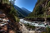 A stunning view between Jorsalle and Namche Bazaar looking back down the Khumbu Valley with the Dudh Kosi River.