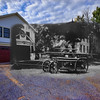 Hayward Fire Department with Bacon Academy in the background in the 1940's mixed with October, 2012. (Colchester, CT)