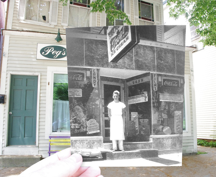 Peg's Vintage Diner in 2011 mixed with Gregory's Soda Fountain from the 1940's. Walter Gregory stands on the steps. 1940's photo courtesy of the Colchester Historical Society. (Colchester, CT)