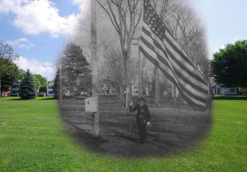 Town Green - Colchester, CT - July 2011 mixed with November 10, 1905. (The name of of the officer is not known.)  1905 photo courtesy of the Colchester Historical Society.