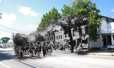 An Independence Day Parade on Main Street in Colchester, CT from the 1940's mixed with July 2011.  1940's photo courtesy of the Colchester Historical Society.