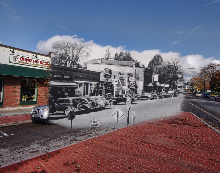 Merchants Row (Main Street) in Colchester in the 1940's mixed with October, 2012.