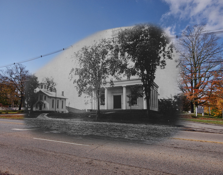Day Hall & Colchester Federated Church in the 1940's mixed with October, 2012. (Colchester, CT)