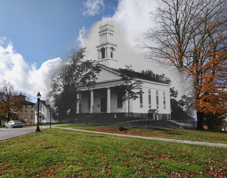 Colchester Federated Church in the 1940's mixed with October, 2012.