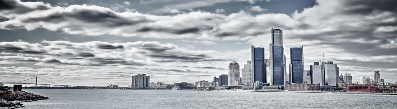 Full Detroit Skyline HDR