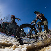 Competitors cross the finish line at the Winterbike Festival in Burke, Vermont