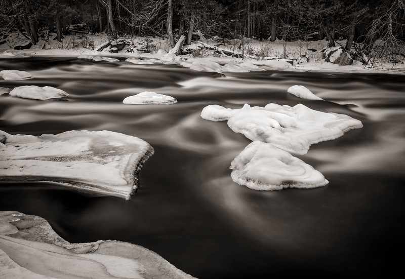 Midstream Ice Forms On The Wolf River, Wisconsin