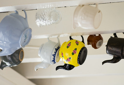 Teapots hanging from the celing of the MV Lotus