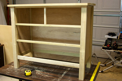 The frame is complete.  Time to figure out how to add some drawers.