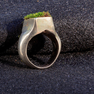 """Wyatt made this ring in Dan Newman's class, Q4, senior year. It has a small """"box"""" on top for plantings. Here it's shown with yard moss."""