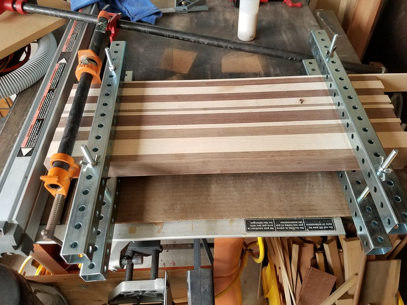 Gluing up 1.75 inch Maple & Walnut for cutting boards